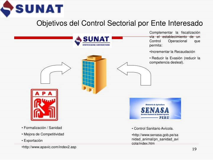 Objetivos del Control Sectorial por Ente Interesado