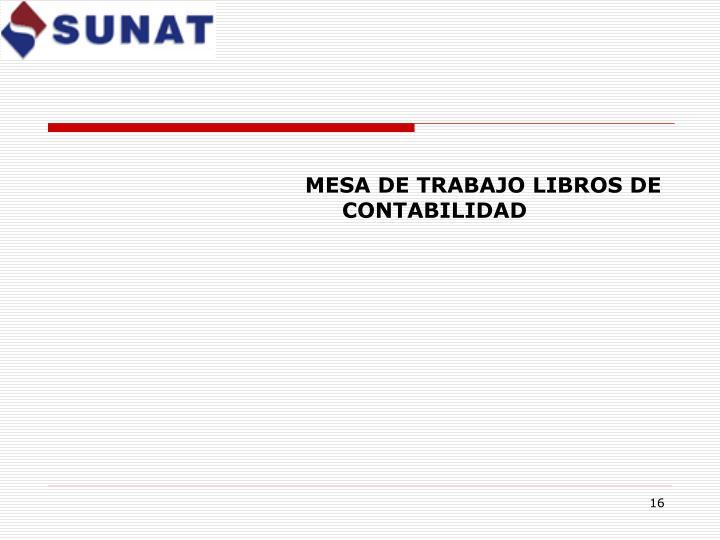 MESA DE TRABAJO LIBROS DE CONTABILIDAD