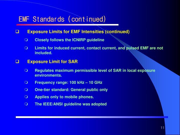 EMF Standards (continued)