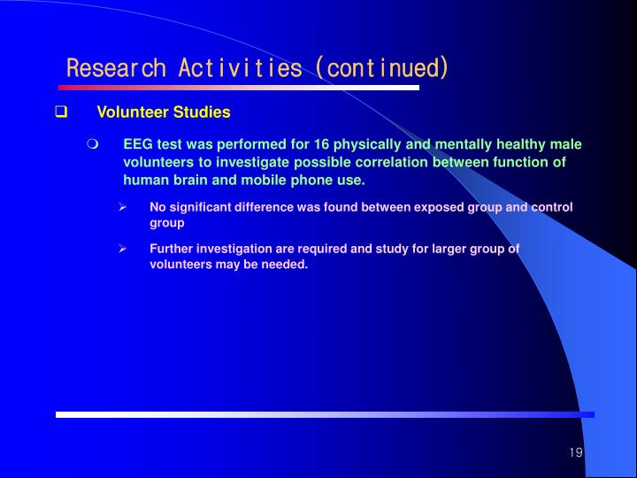 Research Activities (continued)