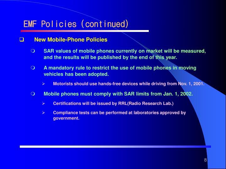 EMF Policies (continued)