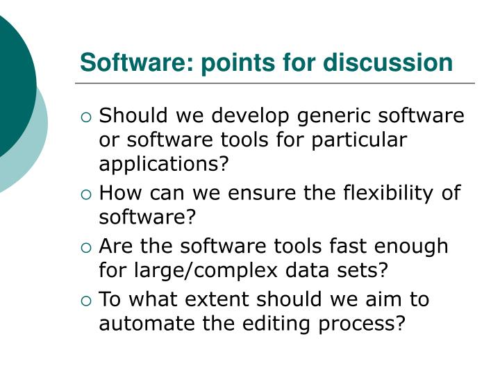 Software: points for discussion