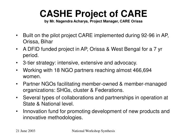 CASHE Project of CARE