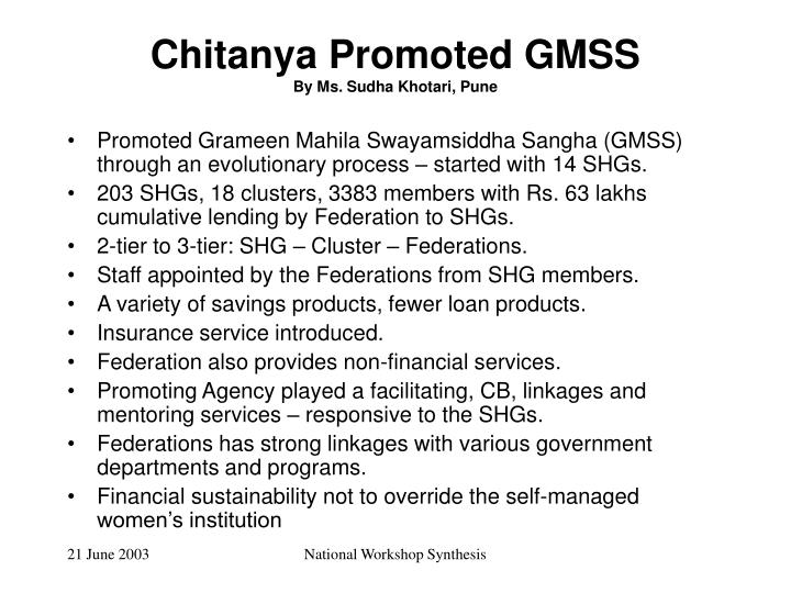 Chitanya Promoted GMSS