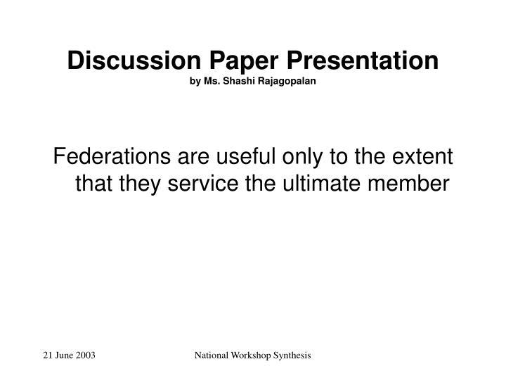 Discussion Paper Presentation