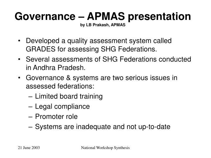 Governance – APMAS presentation