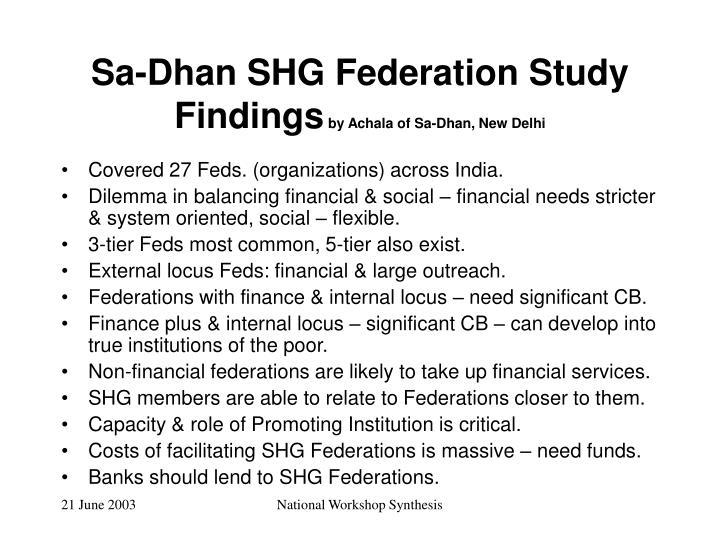 Sa-Dhan SHG Federation Study Findings