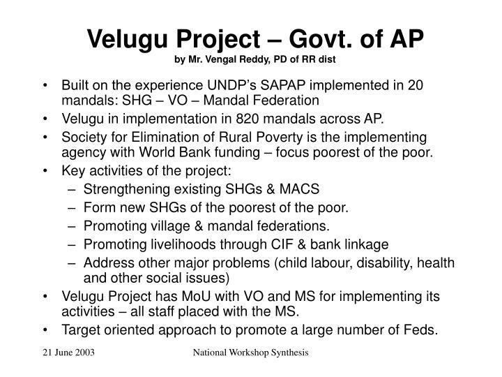 Velugu Project – Govt. of AP