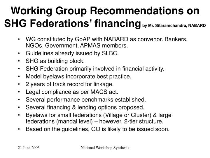 Working Group Recommendations on SHG Federations' financing