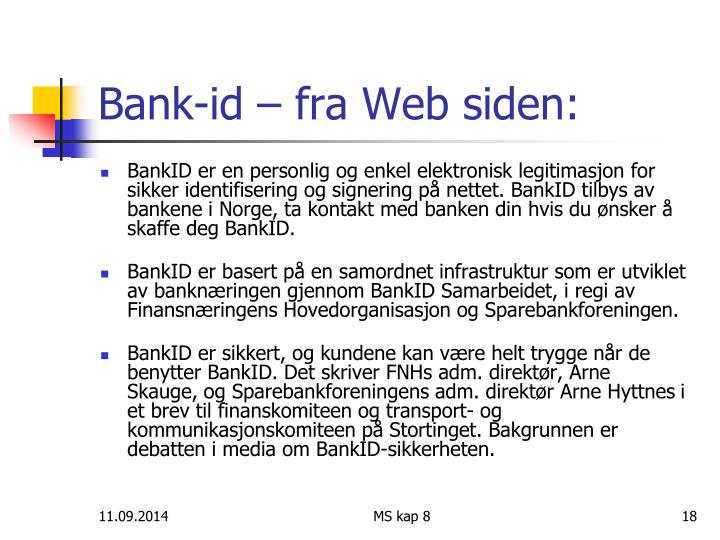 Bank-id – fra Web siden:
