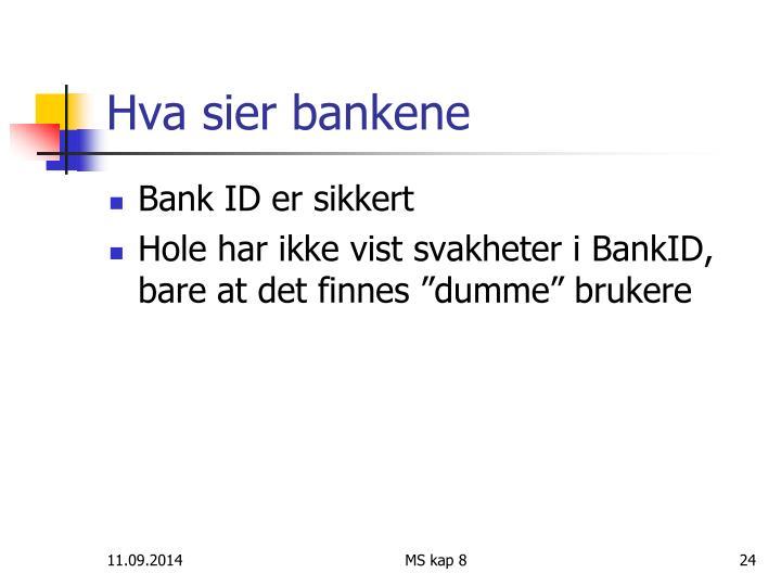 Hva sier bankene