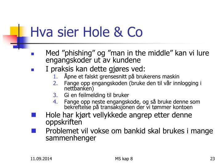 Hva sier Hole & Co