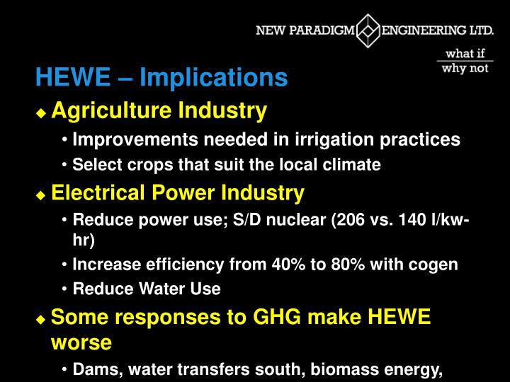 HEWE – Implications