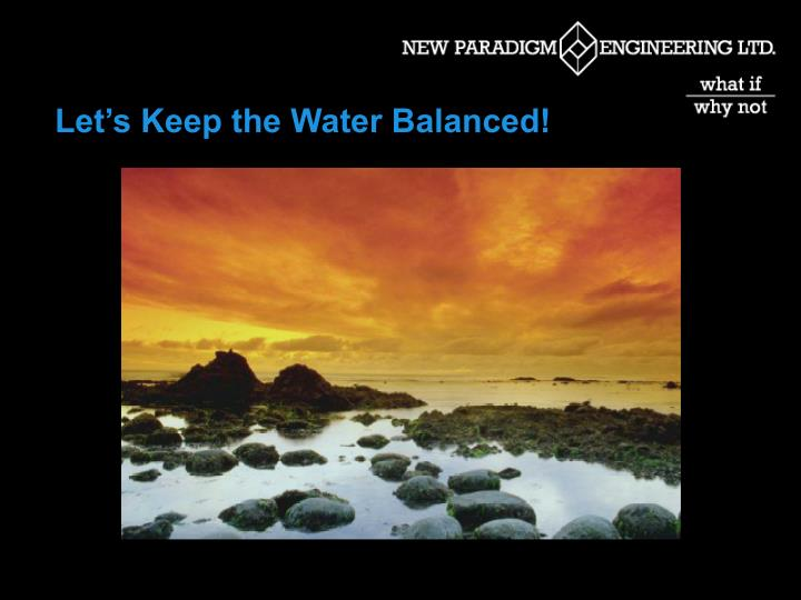 Let's Keep the Water Balanced!