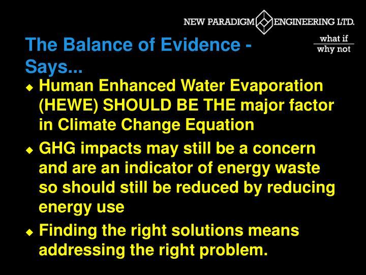 The Balance of Evidence - Says...