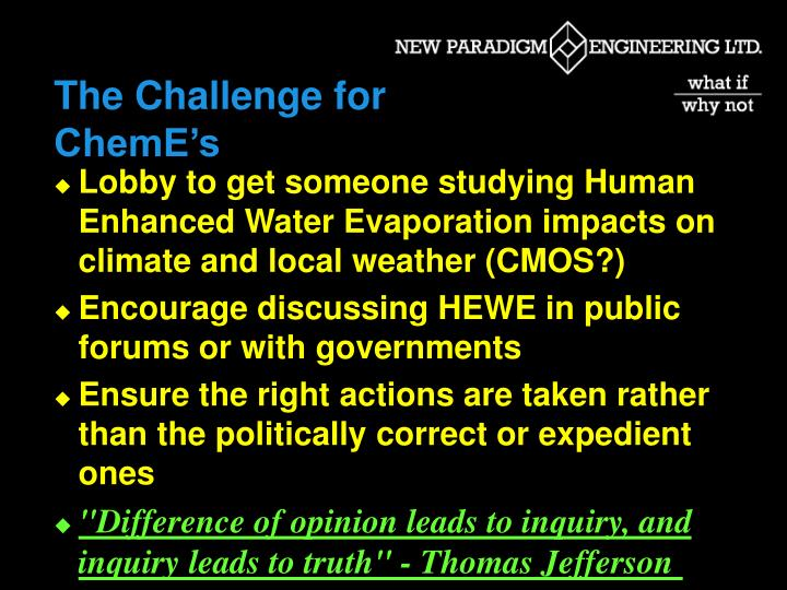 The Challenge for ChemE's
