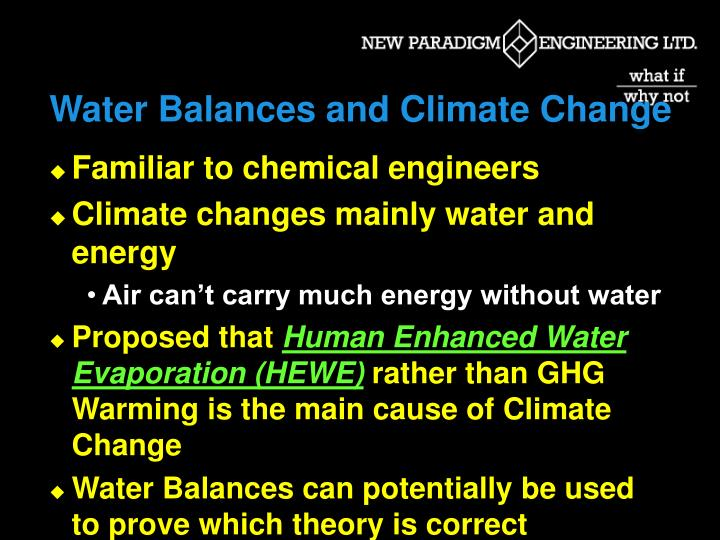 Water Balances and Climate Change