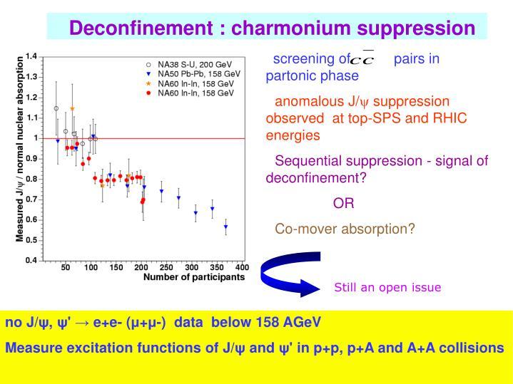 Deconfinement : charmonium suppression