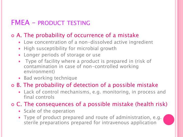 FMEA – product testing