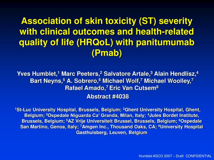 Association of skin toxicity (ST) severity with clinical outcomes and health-related quality of life...