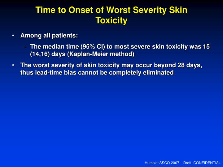 Time to Onset of Worst Severity Skin Toxicity