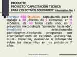 producto proyecto capacitaci n tecnica para colectivos solidarios alternativa no 1