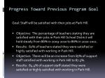 progress toward previous program goal1