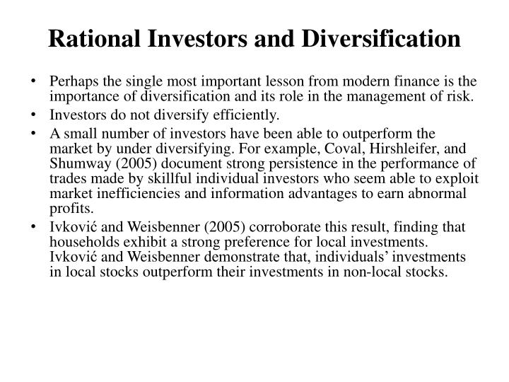 Rational Investors and Diversification
