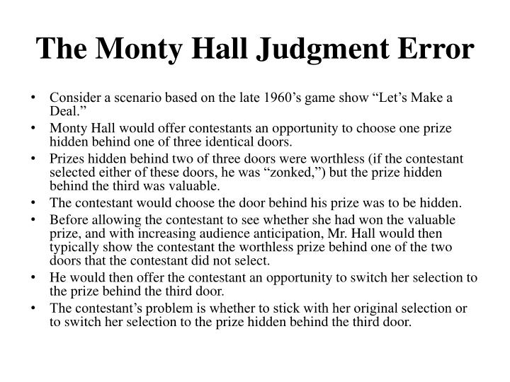 The Monty Hall Judgment Error