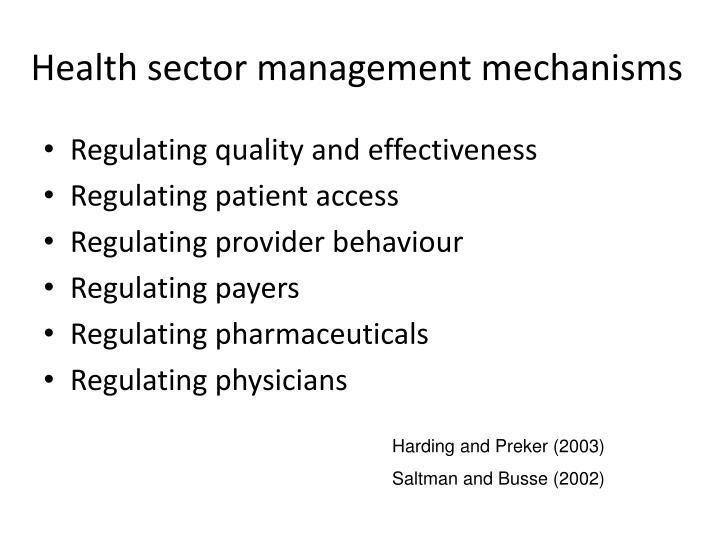 Health sector management mechanisms