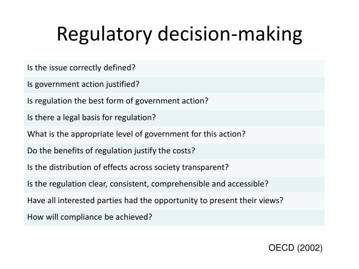 Regulatory decision-making