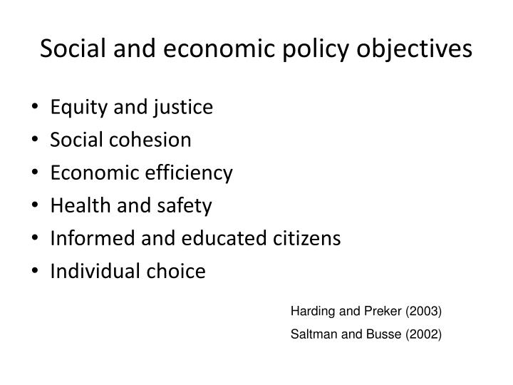 Social and economic policy objectives