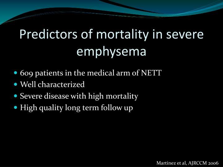 Predictors of mortality in severe emphysema