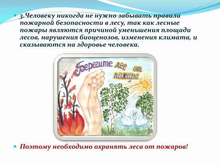 3.Человеку никогда не нужно забывать правила пожарной безопасности в лесу, так как лесные пожары являются причиной уменьшения площади лесов, нарушения биоценозов, изменения климата, и сказываются на здоровье человека.