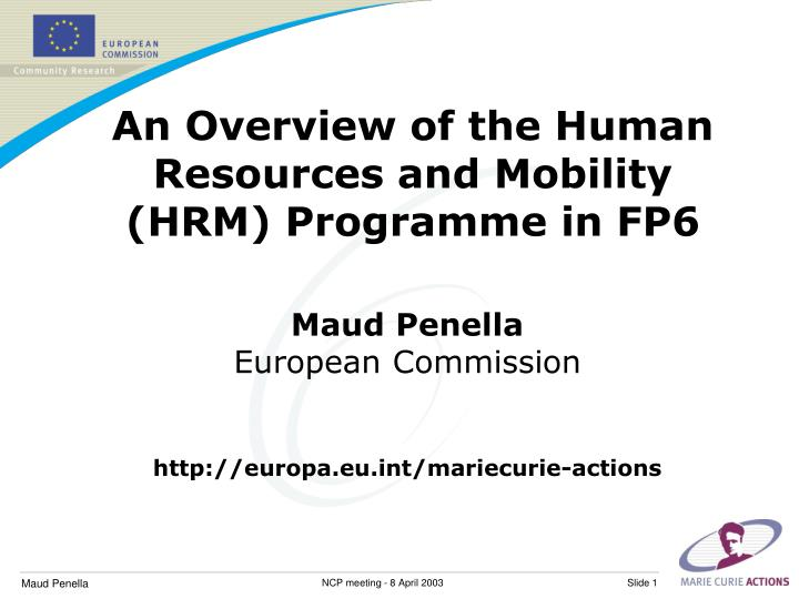an overview of the human resources and mobility hrm programme in fp6 n.