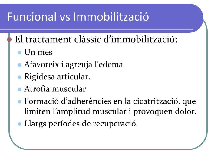 Funcional vs Immobilització