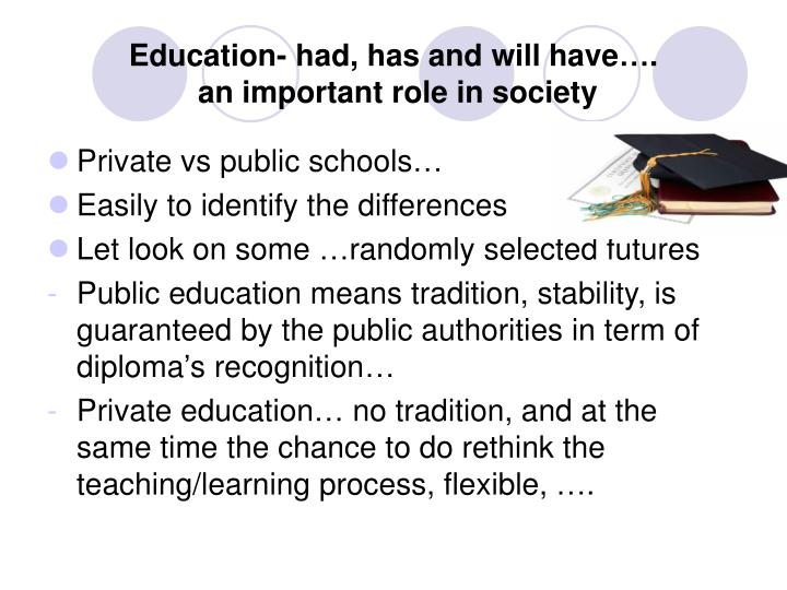 Education- had, has and will have….