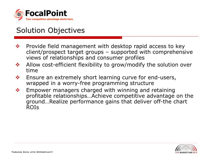 Solution Objectives