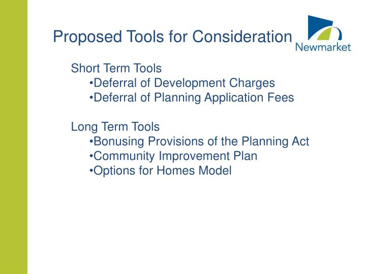 Proposed Tools for Consideration