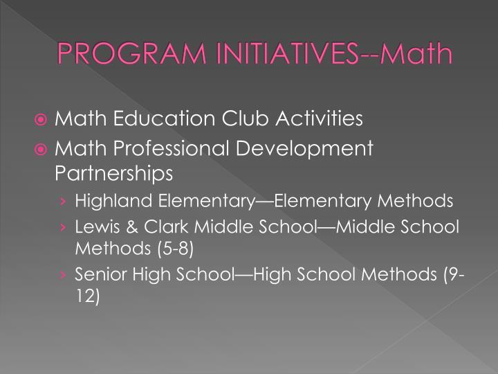 Program initiatives math