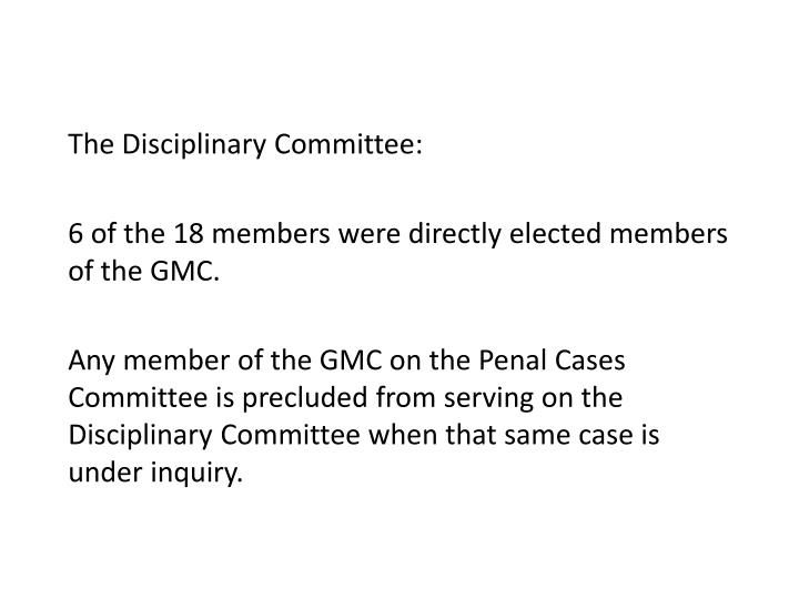 The Disciplinary Committee: