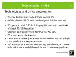 technologies in 1985