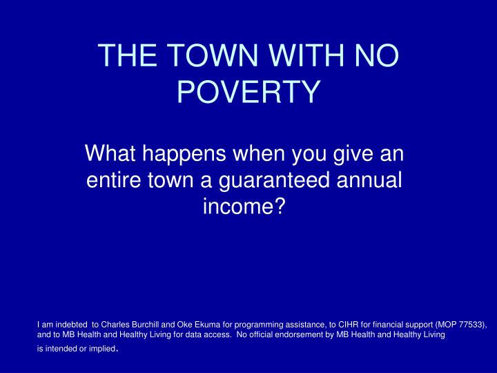the town with no poverty n.