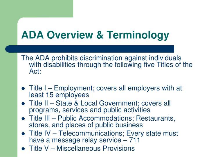 ADA Overview & Terminology