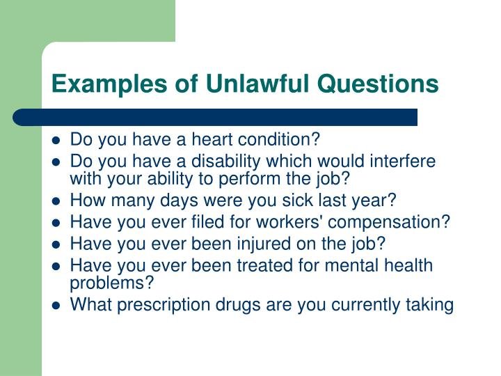 Examples of Unlawful Questions