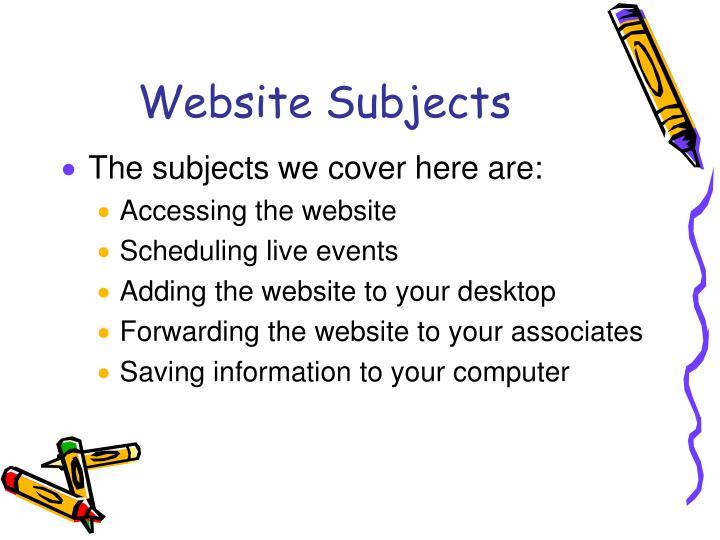 Website Subjects