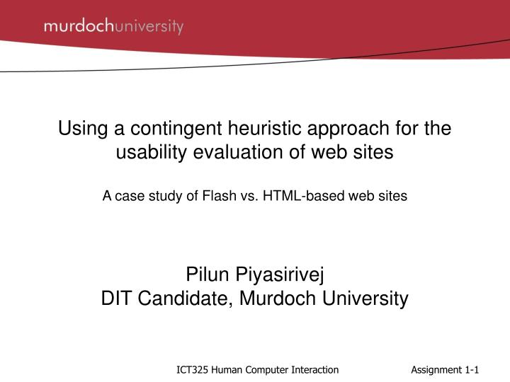 Using a contingent heuristic approach for the usability evaluation of web sites