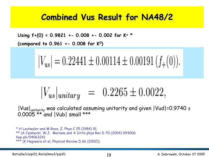 Combined Vus Result for NA48/2