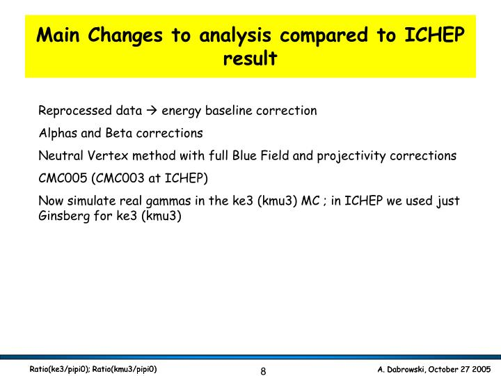 Main Changes to analysis compared to ICHEP result