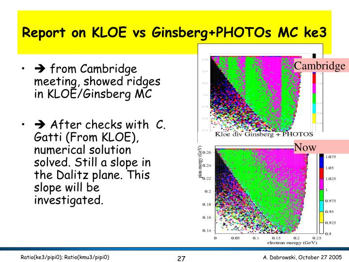 Report on KLOE vs Ginsberg+PHOTOs MC ke3